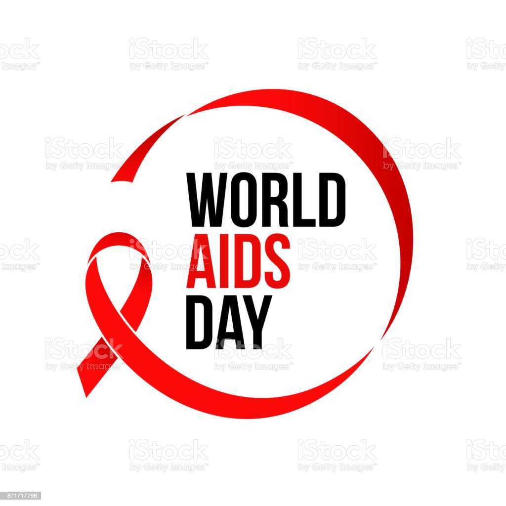 World AIDS day red ribbon 1 December awareness solidarity icon vector poster vector art illustration