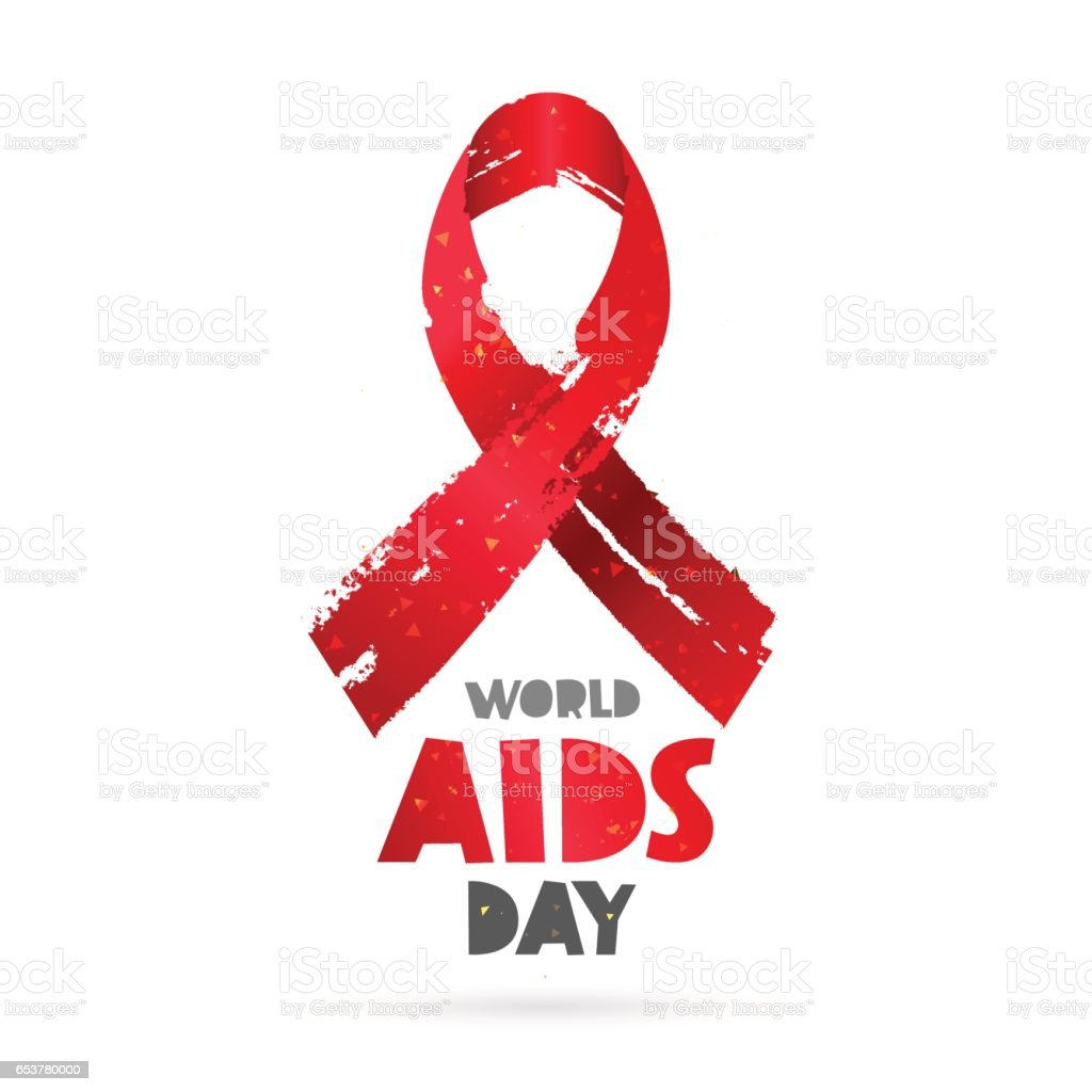 World AIDS Day. Red ribbon vector art illustration
