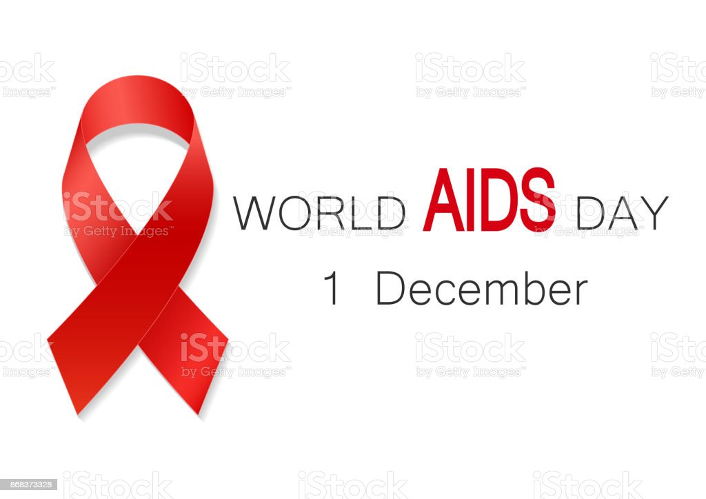World aids day symbol, realistic red ribbon, 1 december. World Aids Day concept with text vector art illustration