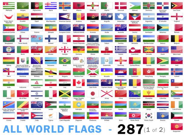 ilustrações de stock, clip art, desenhos animados e ícones de world all flags - complete collection - 287 items - part 1 of 2 - inteiro