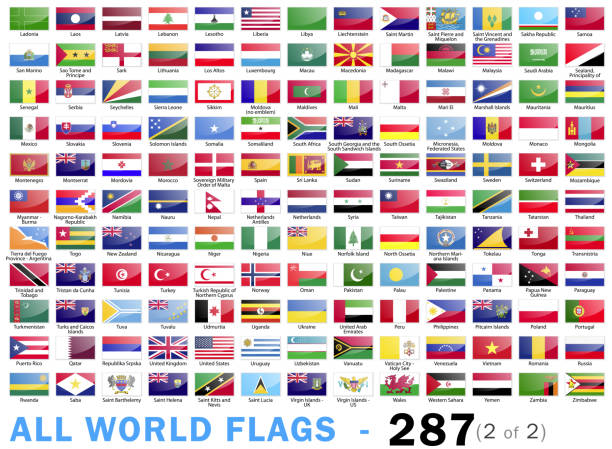 World All Flags - Complete collection - 287 items - part 2 of 2 Vector Illustration World Flags lithuania stock illustrations