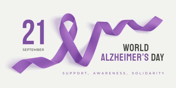 ilustrações de stock, clip art, desenhos animados e ícones de world alzheimer's day banner with ribbon - alzheimer