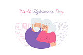 World Alzheimer's day card with an elderly couple who care for each other.