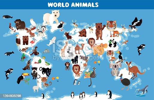 Vector World And Animals Map http://legacy.lib.utexas.edu/maps/world_maps/world_physical_2015.pdf