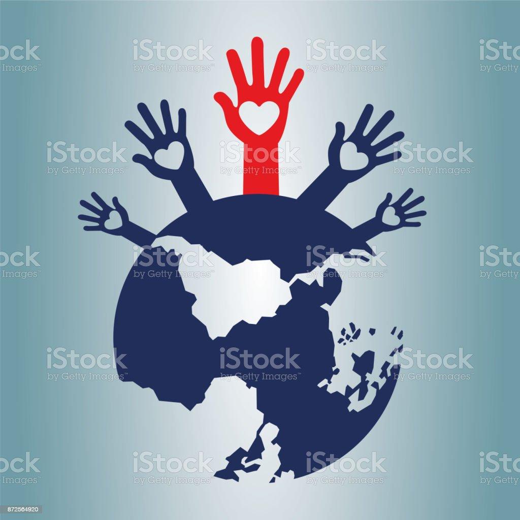 World and human rights volunteers.Vector illustration vector art illustration