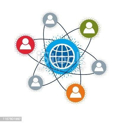 World and Person creative unique vector symbol created with different icons. System and social Matrix sign. Person and humankind interacts with each other.