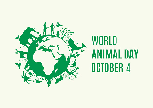 Silhouette of Planet Earth with fauna and flora icon. Environmenta icon vector. Animal Day Poster, October 4. Important day