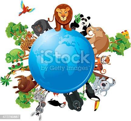 Vector illustration World animals