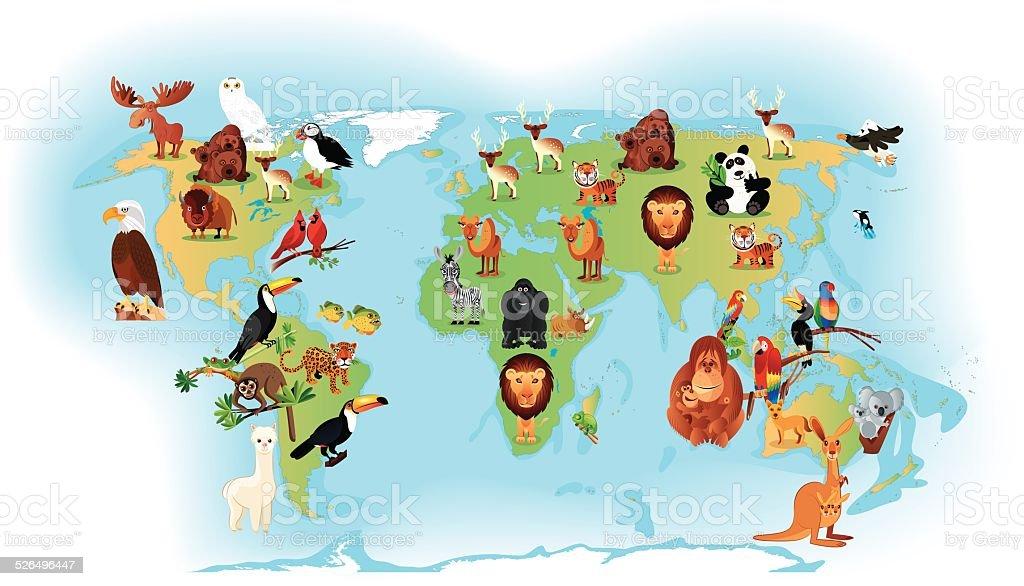 Mundo los animales - ilustración de arte vectorial