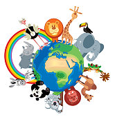 World Animals\nI have used \nhttp://legacy.lib.utexas.edu/maps/world_maps/world_physical_2015.pdf\naddress as the reference to draw the basic map outlines with Illustrator CS5 software, other themes were created by \nmyself.