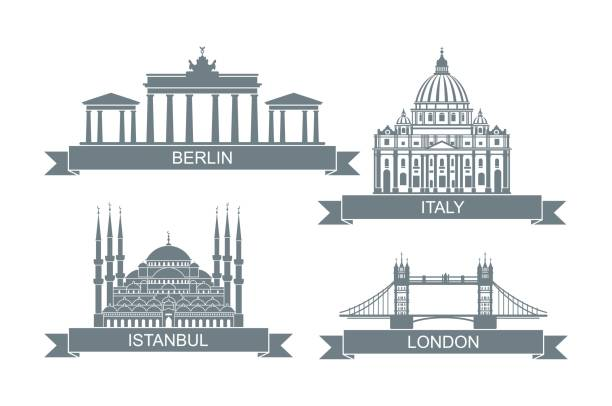 World architectural attractions. Stylized flat icons. Landmarks in Rome, London, Istanbul and Berlin vector art illustration
