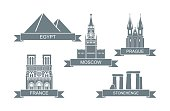 World architectural attractions. Stylized flat icons Landmarks of Paris, Moscow, Prague, Egypt, England