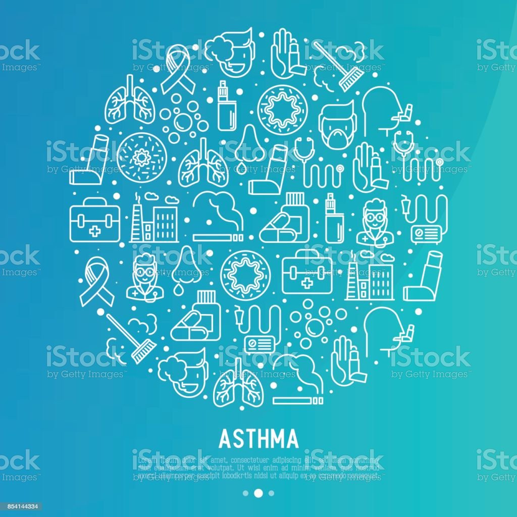 World asthma day concept in circle with thin line icons: air pollution, smoking, respirator, therapist, inhaler, bronchi, allergy symptoms and allergens. Vector illustration for banner, web page. vector art illustration