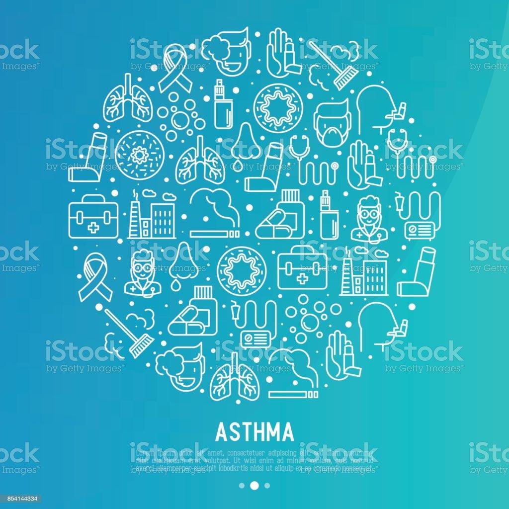 Conceito de dia mundial asma em círculo com ícones de linha fina: poluição do ar, tabagismo, respirador, terapeuta, inalador, brônquios, os sintomas da alergia e alérgenos. Ilustração vetorial para banner, página da web. - ilustração de arte em vetor