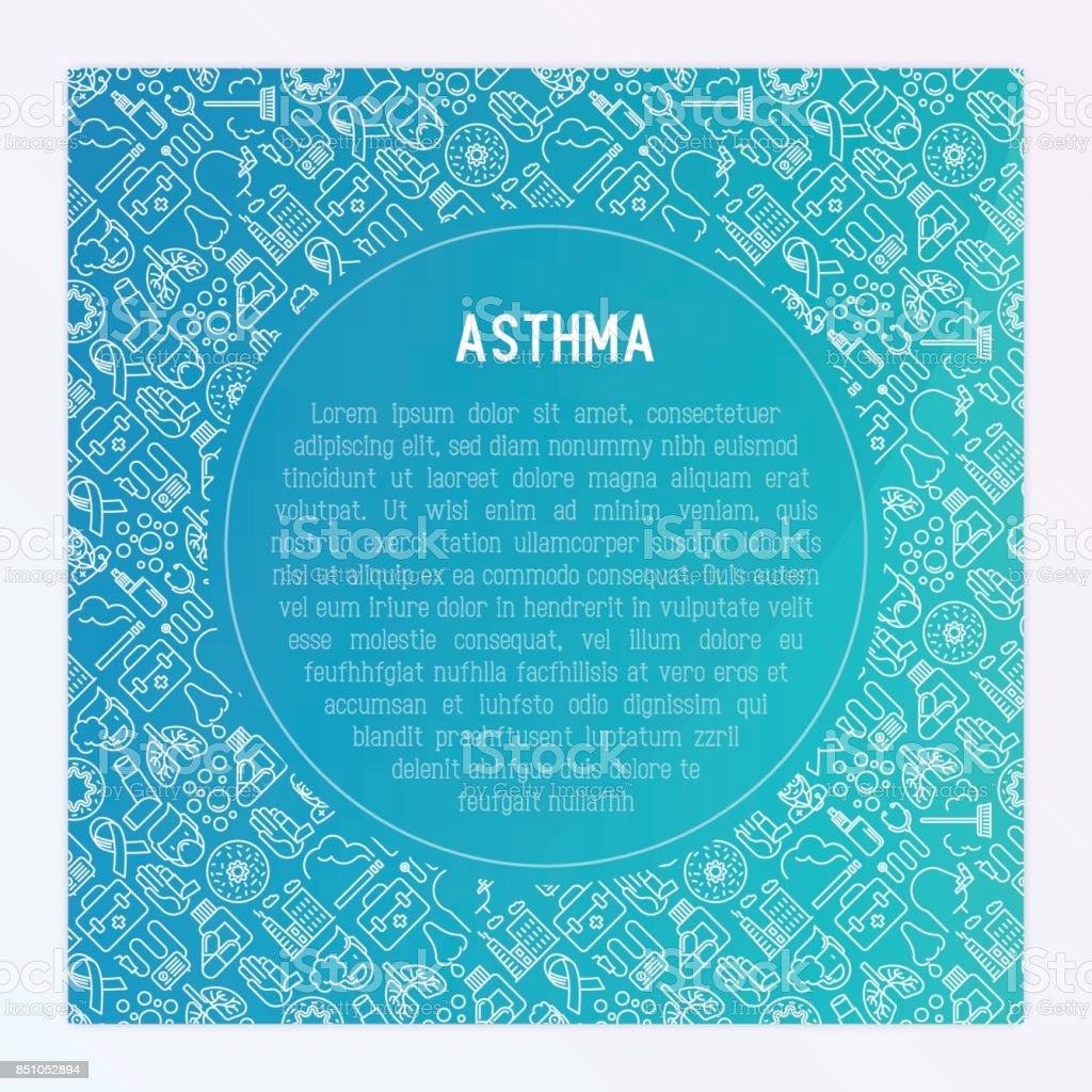 World asthma day concept with thin line icons: air pollution, smoking, respirator, therapist, inhaler, bronchi, allergy symptoms and allergens. Vector illustration for banner, web page, print media. vector art illustration