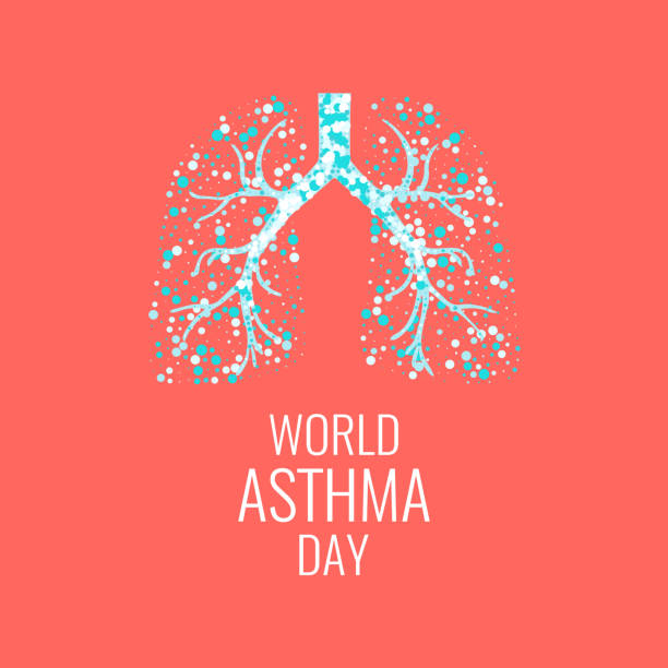 World Asthma Day World Asthma Day poster with illustration of lungs filled with air bubbles. Asthma awareness sign. Asthma solidarity day. Healthy lungs symbol. Vector illustration. lung stock illustrations