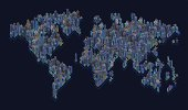 world map with buildings at night