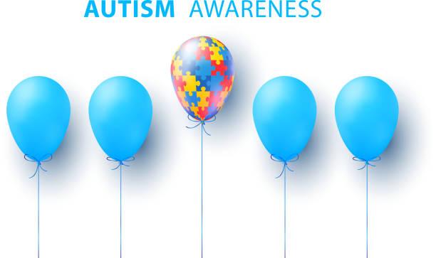 dünya otizm farkındalık günü. mavi, renkli bulmacalar, balon, vektör arka plan. otizmin sembolü. tıbbi düz illüstrasyon. sağlık - sembolizm akımı stock illustrations