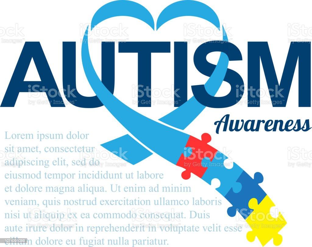 Dia Mundial de conscientização de autismo. Fita azul com coloridos quebra-cabeças de fundo vector. Forma de coração. Símbolo do autismo. Ilustrações médicas plana. Cuidados de saúde - ilustração de arte em vetor