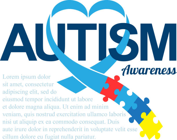 World autism awareness day. Blue ribbon with colorful puzzles vector background. Heart shape. Symbol of autism. Medical flat illustration. Health care vector art illustration