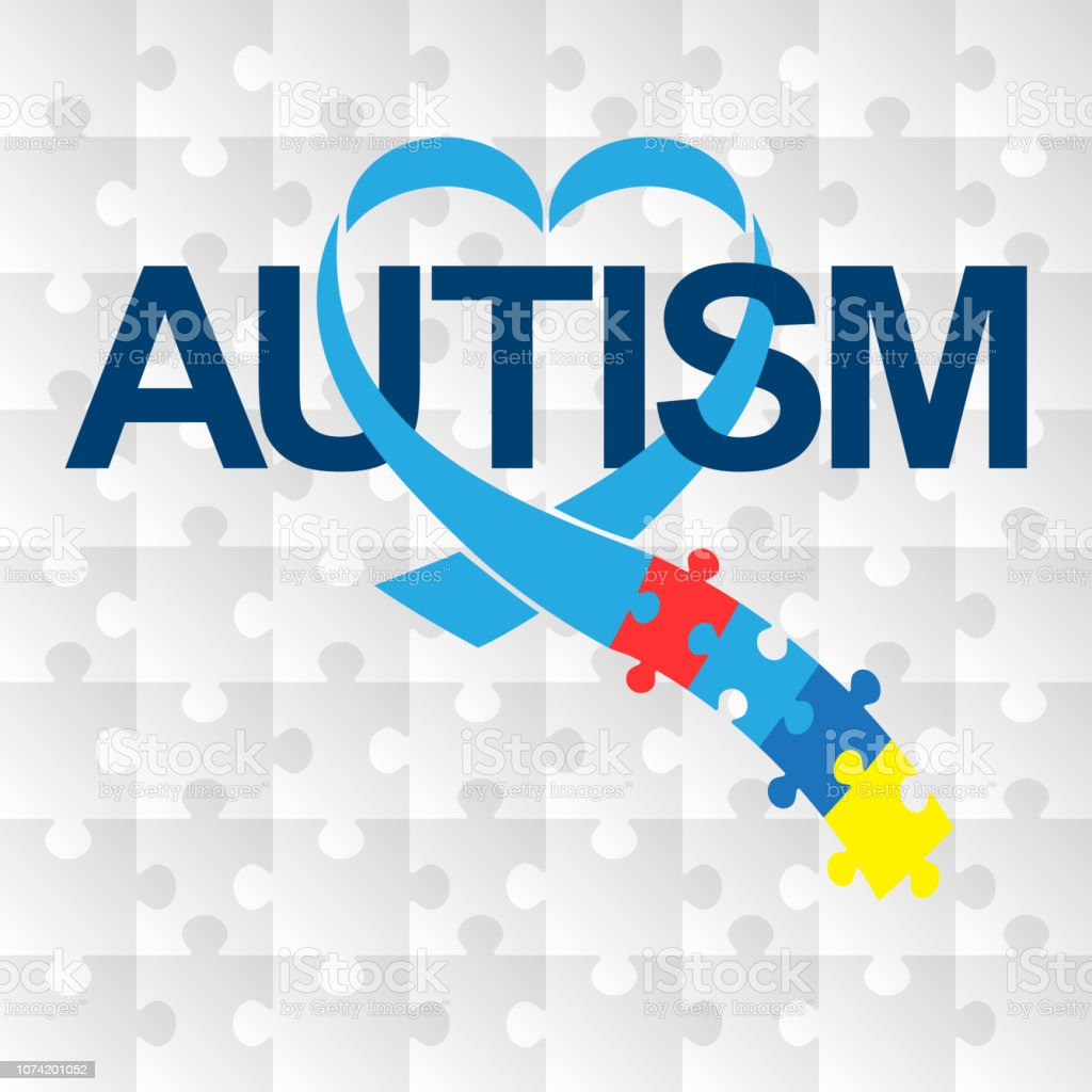 World autism awareness day. Blue ribbon with colorful puzzles vector background. Heart shape. Symbol of autism. Medical flat illustration. Health care