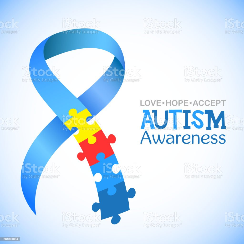 World autism awareness day. Blue ribbon with colorful puzzles vector background. Symbol of autism. Medical flat illustration. Health care vector art illustration