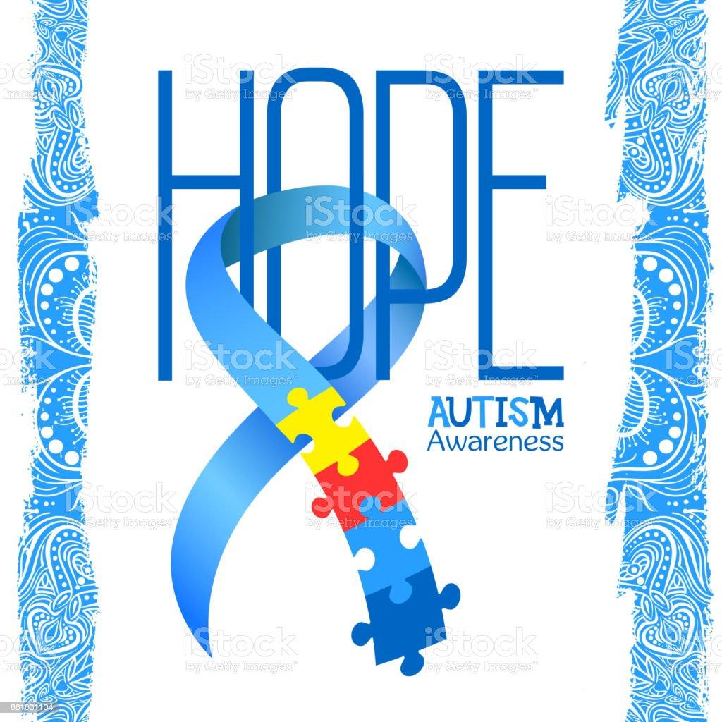World autism awareness day blue ribbon with colorful puzzles world autism awareness day blue ribbon with colorful puzzles vector background hope symbol biocorpaavc