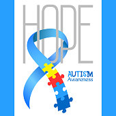 World autism awareness day. Blue ribbon with colorful puzzles vector background. Hope. Symbol of autism. Medical flat illustration. Health care