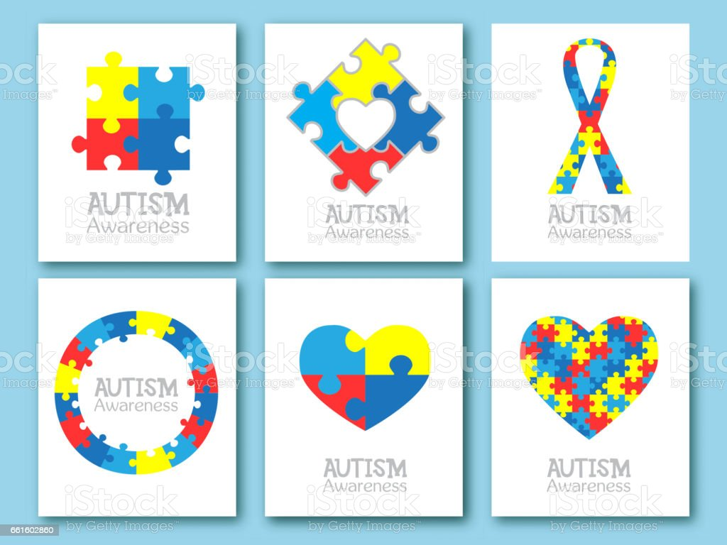 World autism awareness day. Colorful puzzle symbol of autism. Vector illustration. Medical flat illustration. Health care. Set of card, invitation, poster design template. Collection of design element vector art illustration