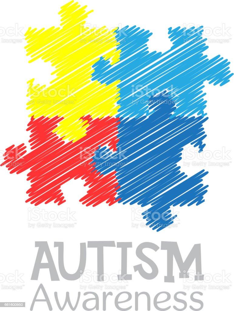 Dia Mundial de conscientização de autismo. Quebra-cabeça colorido vector design mão desenhada sinal. Símbolo do autismo. Esboço. Ilustrações médicas plana. Cuidados de saúde - ilustração de arte em vetor