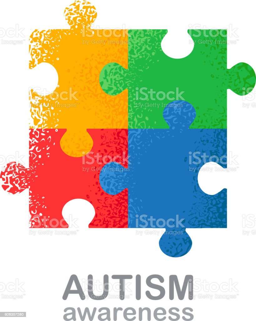 World Autism Awareness Day Colorful Puzzle Vector Design Hand Drawn