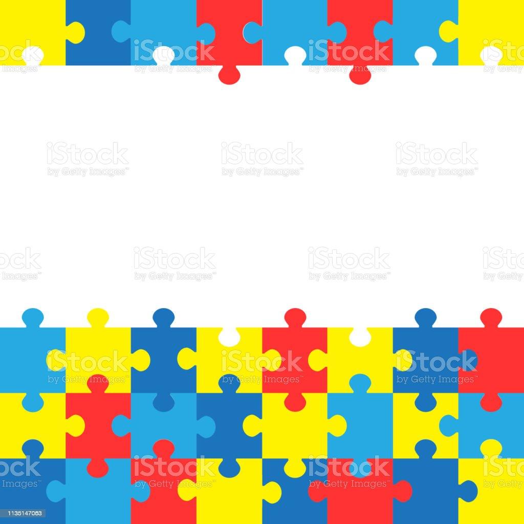 Dia Mundial de conscientização do autismo. Fundo colorido do vetor dos enigmas. Símbolo do autismo. Ilustração Lisa médica. Saúde - ilustração de arte em vetor