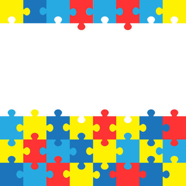 World autism awareness day. Colorful puzzles vector background. Symbol of autism. Medical flat illustration. Health care World autism awareness day. Colorful puzzles vector background. Symbol of autism. Medical flat illustration. Health care autism stock illustrations