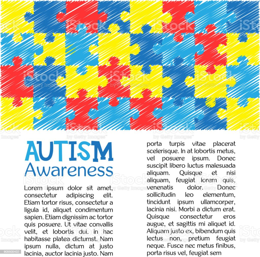 Dia Mundial de conscientização de autismo. Quebra-cabeça colorido desenho mão desenhada de fundo vector. Símbolo do autismo. Esboço. Ilustrações médicas plana. Cuidados de saúde - ilustração de arte em vetor