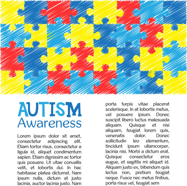 World autism awareness day. Colourful puzzle vector design hand drawn background. Symbol of autism. Sketch. Medical flat illustration. Health care vector art illustration