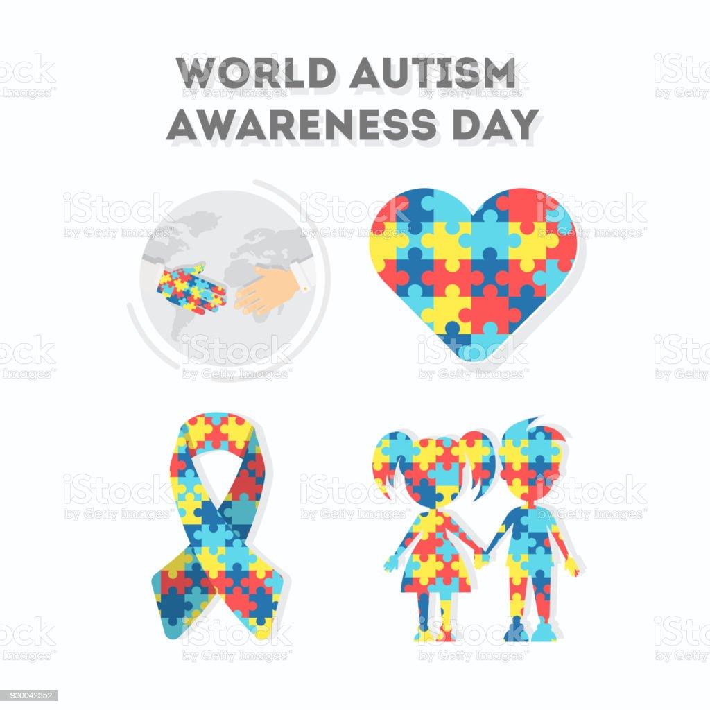 Dia Mundial de conscientização de autismo. - ilustração de arte em vetor