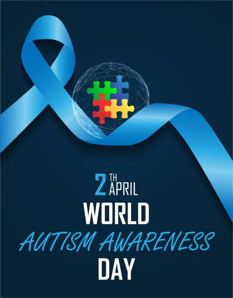 world autism awareness day world autism awareness day on April 2 background autism stock illustrations