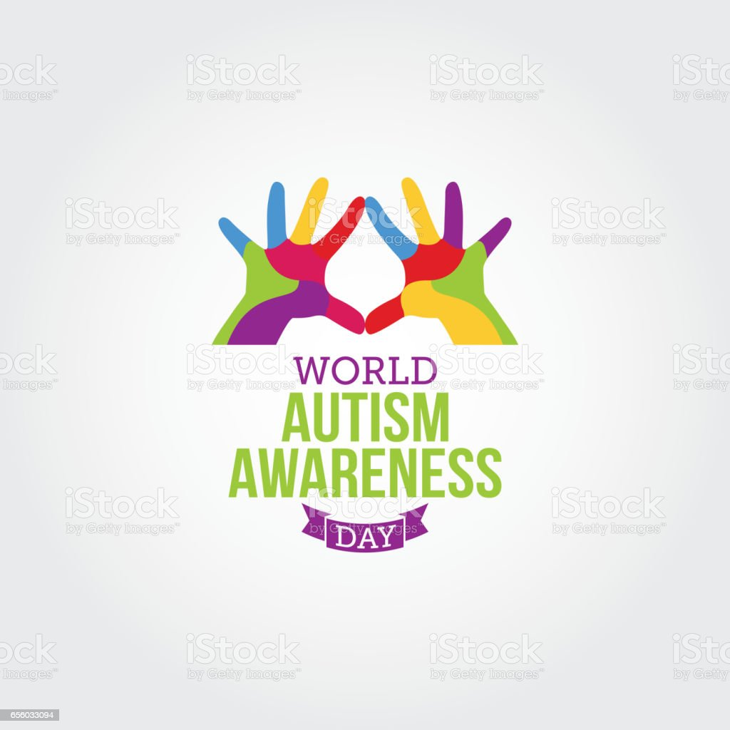 Mundo autismo consciência dia ilustração vetorial. Apropriado para cartão, Poster e Banner - ilustração de arte em vetor