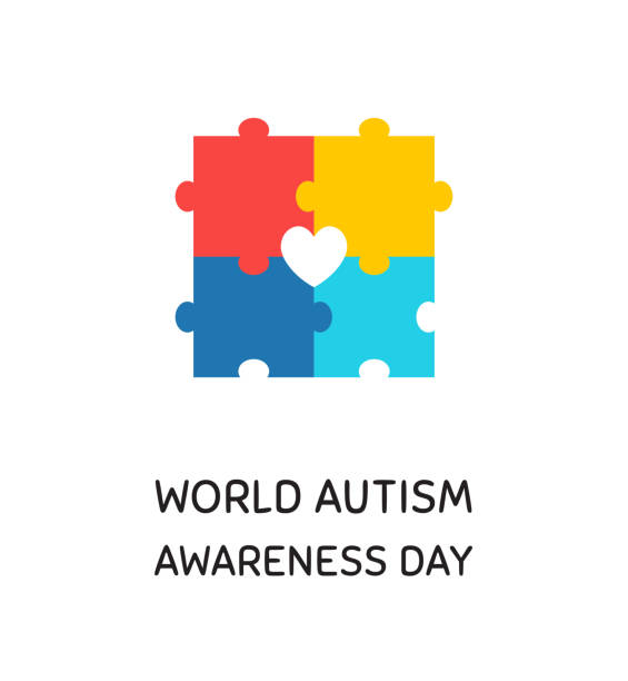 World autism awareness month banner design element World autism awareness day banner design element. Children with development disorder support, ASD tolerance symbol. Colorful jigsaw puzzle pieces flat vector illustration with typography autism stock illustrations