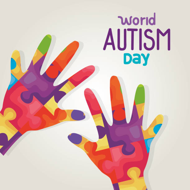 world autism day and hands with puzzle pieces vector art illustration