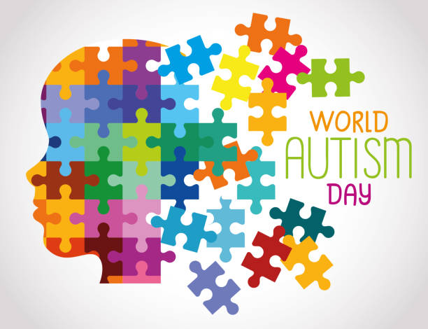 world autism day and head of puzzle pieces vector art illustration