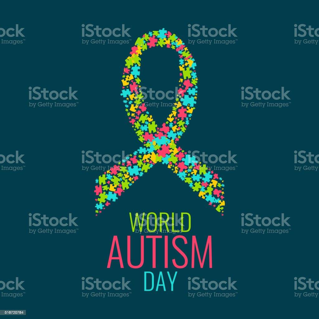 Мир аутизмом день плакат векторная иллюстрация