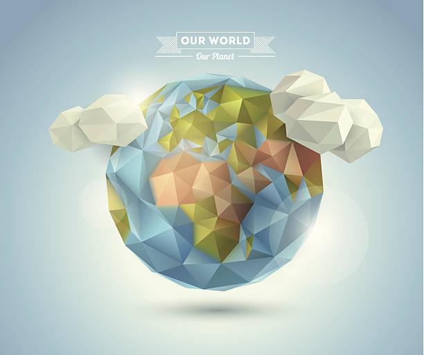 illustrazioni stock, clip art, cartoni animati e icone di tendenza di sfondo di mondo in stile origami. - sovraesposizione effetti fotografici