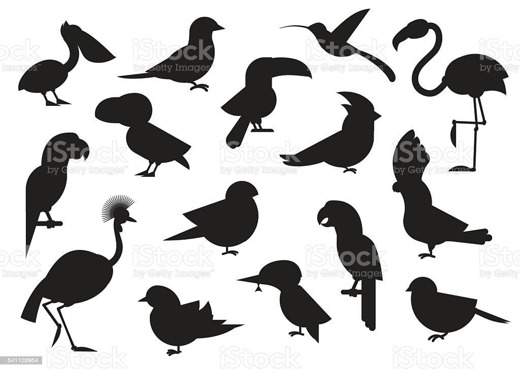 World Birds Outline Icons vector art illustration
