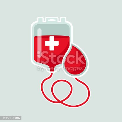 World Blood Donor Day 14 june concept. Package with blood and a drop of red with the inscription on a light green background. Illustration for web site design and application Vector stock illustration