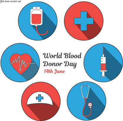 World blood donor day. International holiday. donate blood and save life. Donation give love. Vector ullustration sticker set. Pack of flat icons for design