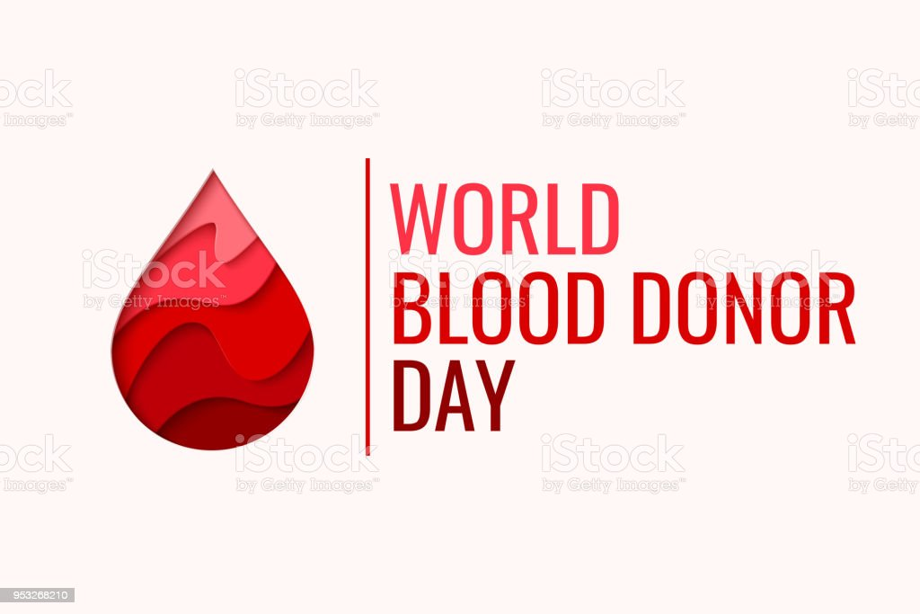World Blood Donor Day - red paper cut blood drop vector art illustration