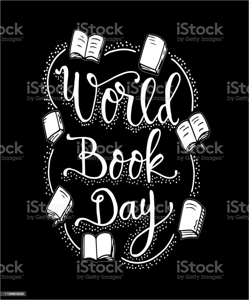 World Book Day Books With Hand Drawn Lettering Vector Stock