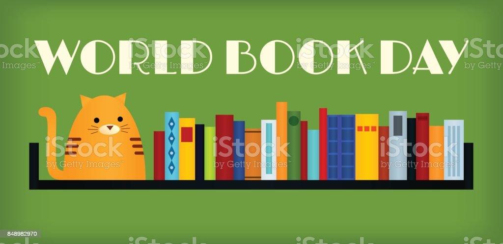 world book day cat vector art illustration