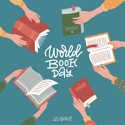 World book day greeting banner with hand drawn lettering. Many hands holding open books on teal background. Education flat vector illustration.